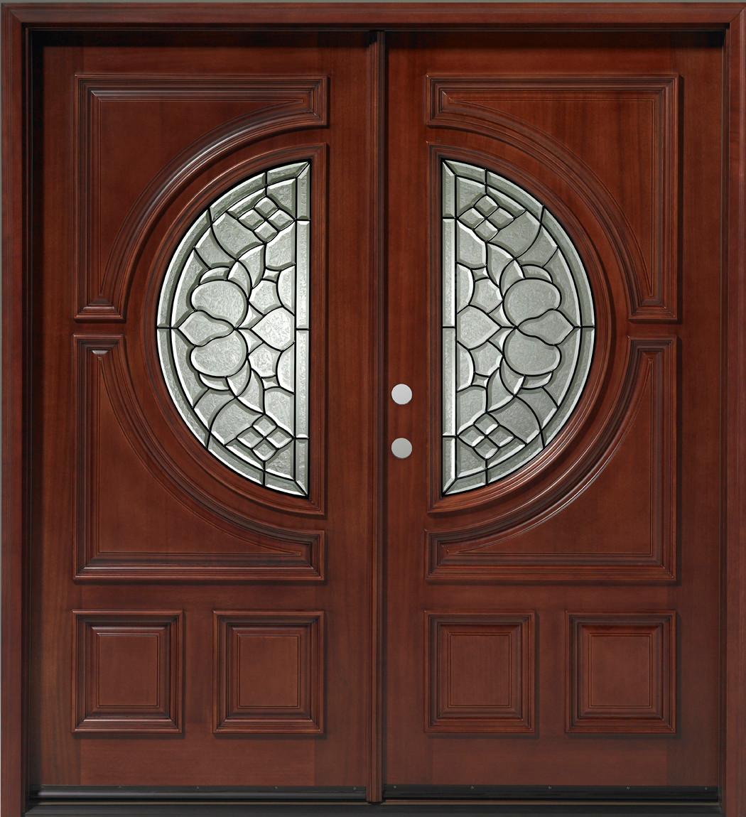 Double Mahogany Center Moon 6u0027 Solid Wood Entry Door