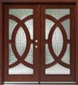 Double Mahogany Circular Deluxe GL18 6' Solid Wood Entry Door