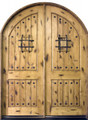 Arch Top Double Knotty Alder Rustic 2 Panel Arch Solid Wood Entry Door
