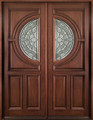 "Solid Wood Mahogany Front Unit Pre-hung & Finished, a pair of 36"" Double Door Center Arch, DMH8587-6-GL22"