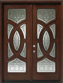 "Solid Wood Mahogany Front Unit Pre-hung & Finished, a pair of 36"" Double Door Center Arch, DMH8588-6-GL18"