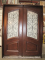 Mahogany Iron Doulbe Door DMH7619-Iron, Frosted Glass Solid Wood Entry Door