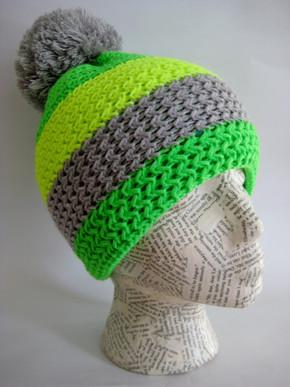Fluorescent winter ski hat