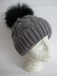 Cable Beanie with Fox Pom-Pom