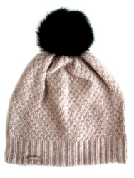 Cashmere Twisted Knit Hat With Detachable Rabbit Fur Pom