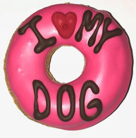 Pink I LOVE MY DOG Donut (Case of 18 treats) NEW !!!