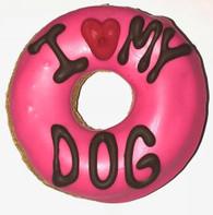 Pink I LOVE MY DOG Donut (Case of 18 treats) NEW !!!