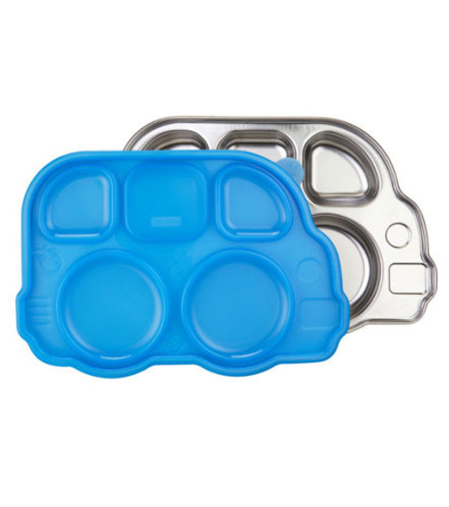 Stainless Steel Bus Platter With Lid - Blue