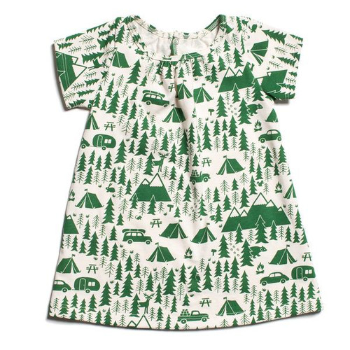 Organic Cotton Baby Dress, Campground Green