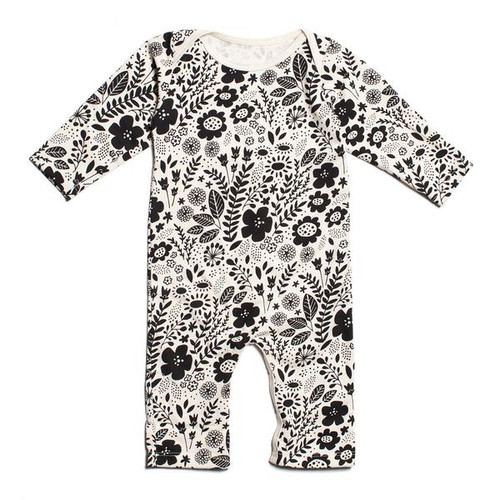 Organic Cotton LS Romper, Wildflowers Black