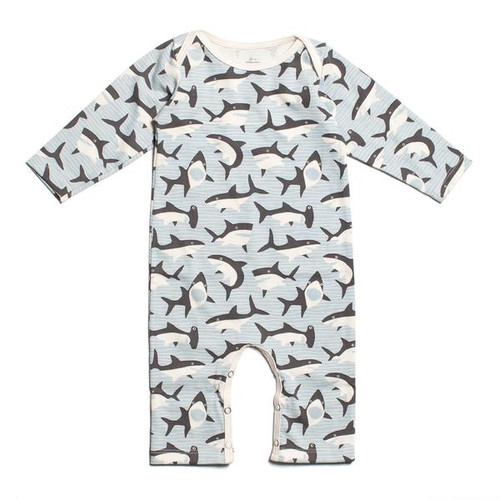 Organic Cotton LS Romper, Sharks