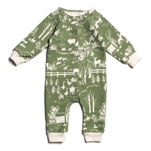 Organic French Terry Jumpsuit, Farm Green
