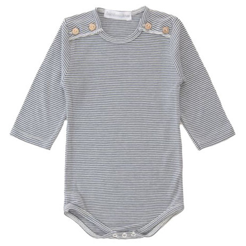 Bodysuit with Buttons, Striped Grey
