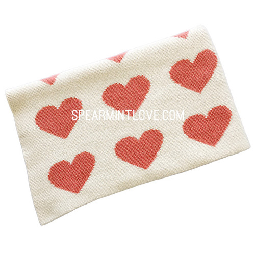 Eco Heart Baby Blanket Cream/Coral