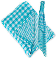 Gingham/Stripe Reversible Muslin Swaddle, Aqua