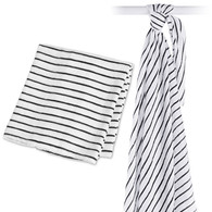 Black Messy Stripe Bamboo Muslin Swaddle