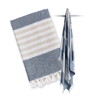 Turkish Towel, Navy & Oatmeal