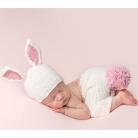 Bunny Newborn Set, White/Pink