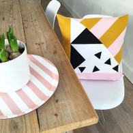 How About Frankie Cushion Cover, Mustard/Light Pink