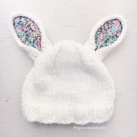 Bunny Hat, White/Floral