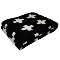Eco Cross Baby Blanket Black/Cream