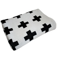Eco Cross Baby Blanket Cream/Black