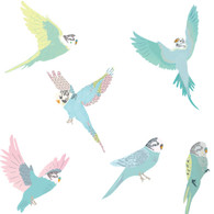 Budgies Fabric Wall Decals
