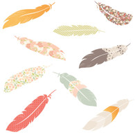 Floating Feathers Fabric Wall Decals