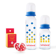 Glass Baby Bottle Gift Set, Brave Blue