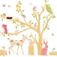 Woodland Scene Fabric Wall Decals, Girl