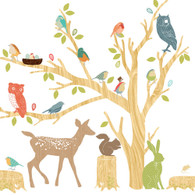 Woodland Scene Fabric Wall Decals, Earthy