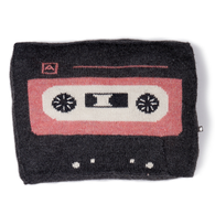 Music Tape Pillow, Grey/Rose