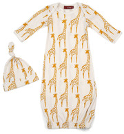 Yellow Giraffe Newborn Gown & Hat Set