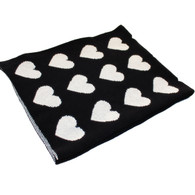 Eco Heart Baby Blanket Black/Cream