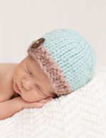 Knit Button Hat, Teal