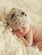 Newborn Mohair Bonnet, Tan