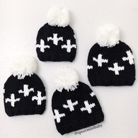 Cross Hat, Black/Cream
