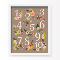 Lil' Learner Numbers Art Print Grey, 8 x 10