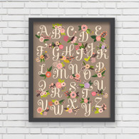 Lil' Learner Alphabet Art Print Grey, 8 x 10