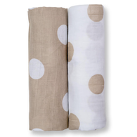 Muslin Swaddle Set, Beige Dots