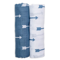 Muslin Swaddle Set, Blue Arrows