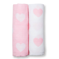 Muslin Swaddle Set, Pink Hearts