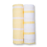 Muslin Swaddle Set, Yellow Stripe