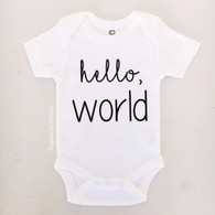Hello World Organic Onesie, White