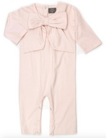 Organic Bow Romper, Pink