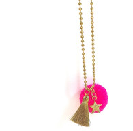 Star Bright Pom Pom Pink Necklace