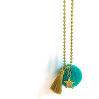 Star Bright Pom Pom Teal Necklace