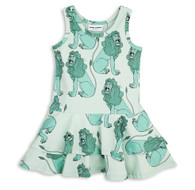 Mini Rodini Lion Frill Dress, Green