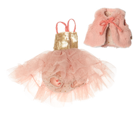 Best Friends Ballerina Dress & Fur Vest Set, Rose