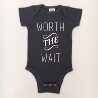 Worth The Wait Organic Onesie, Charcoal